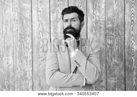 Guy Well Groomed Handsome Bearded Hipster Wear Tuxedo. Gentleman Style Barber. Barber Shop Offer Ran