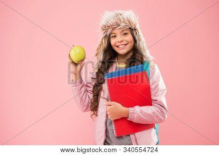 Modern Education. Stylish Schoolgirl. Girl Little Fashionable Schoolgirl Carry Backpack. Schoolgirl