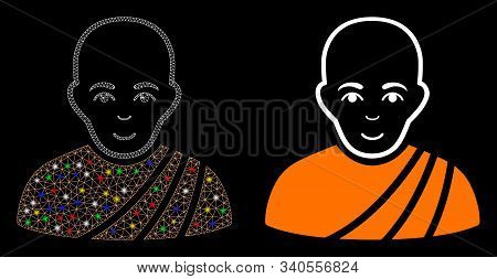 Glossy Mesh Buddhist Monk Icon With Glare Effect. Abstract Illuminated Model Of Buddhist Monk. Shiny