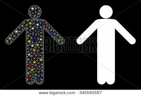 Glossy Mesh Ignorance Pose Icon With Lightspot Effect. Abstract Illuminated Model Of Ignorance Pose.