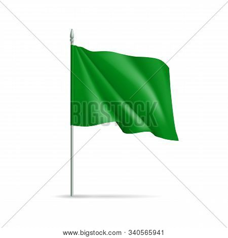 Green Rectangular Flag On Flagpole Isolated On White Background. Realistic Expo Banner For Outdoor P