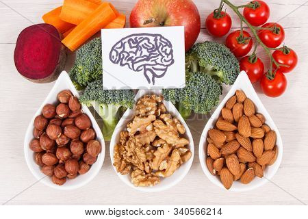 Drawing Of Brain And Healthy Food For Power And Good Memory, Nutritious Eating Containing Natural Vi