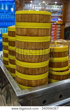 Stack Of Dimsum Steamer Bamboo Boxes In Hong Kong Restaurant