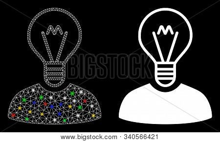Glowing Mesh Bulb Inventor Icon With Glare Effect. Abstract Illuminated Model Of Bulb Inventor. Shin