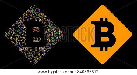 Glowing Mesh Bitcoin Rhombus Icon With Lightspot Effect. Abstract Illuminated Model Of Bitcoin Rhomb