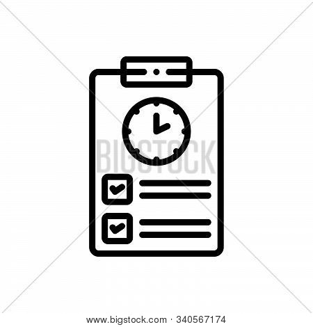 Black Line Icon For Timesheet Countdown Overtime Schedule Timetable Timekeeping
