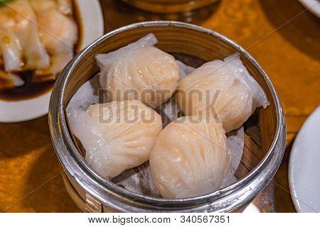 Crystal Shrimp Dumpling- Xia Jiao In Bamboo Dimsum Steamer Box