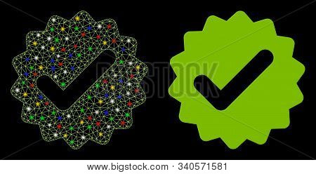 Glossy Mesh Best Medallion Icon With Lightspot Effect. Abstract Illuminated Model Of Best Medallion.