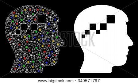 Glowing Mesh Brain Blockchain Icon With Sparkle Effect. Abstract Illuminated Model Of Brain Blockcha