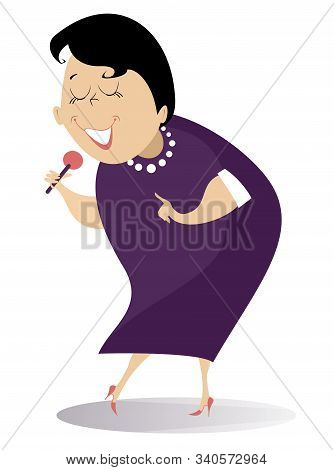 Romantic Singer Woman Isolated Illustration. Cartoon Woman With Microphone Sings A Song With Inspira