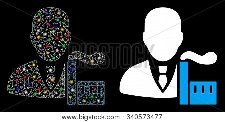 Glowing Mesh Capitalist Oligarch Icon With Glare Effect. Abstract Illuminated Model Of Capitalist Ol