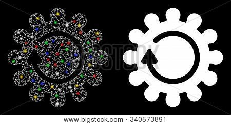 Glowing Mesh Cog Rotation Icon With Lightspot Effect. Abstract Illuminated Model Of Cog Rotation. Sh