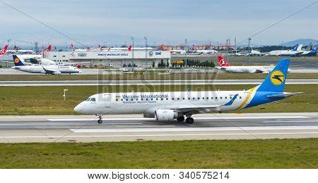 Istanbul, Turkey - Sep 30, 2018. Ur-emb Ukraine Airlines Embraer Erj-190std Taxiing On Runway Of Ist