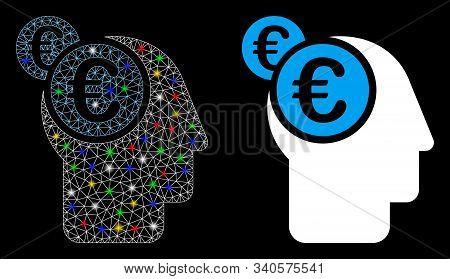 Bright Mesh Euro Businessman Intellect Icon With Glare Effect. Abstract Illuminated Model Of Euro Bu