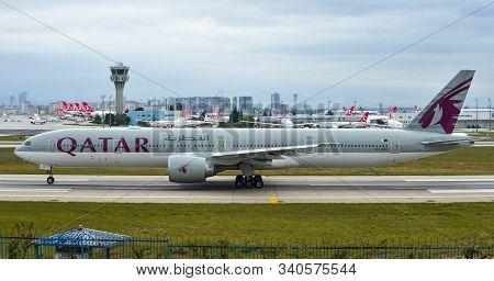 Istanbul, Turkey - Sep 30, 2018. A7-bae Qatar Airways Boeing 777-300er Taxiing On Runway Of Istanbul