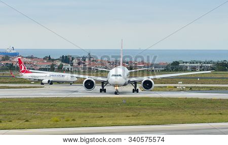 Istanbul, Turkey - Sep 30, 2018. Passenger Airplanes Taxiing On Runway Of Istanbul Ataturk Airport (