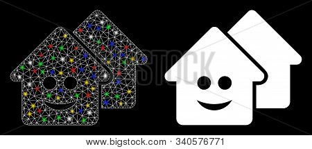 Flare Mesh Happy Realty Icon With Glare Effect. Abstract Illuminated Model Of Happy Realty. Shiny Wi