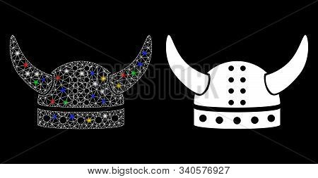 Glossy Mesh Horned Helmet Icon With Glitter Effect. Abstract Illuminated Model Of Horned Helmet. Shi