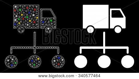 Glossy Mesh Lorry Distribution Scheme Icon With Glare Effect. Abstract Illuminated Model Of Lorry Di