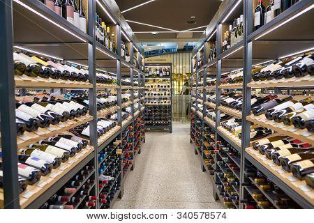 BERLIN, GERMANY - CIRCA SEPTEMBER, 2019: wines on display at the Kaufhaus des Westens (KaDeWe) department store in Berlin.