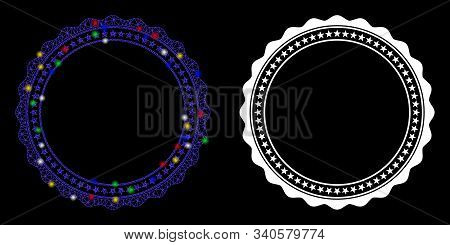 Flare Mesh Rosette Circular Star Frame Icon With Lightspot Effect. Abstract Illuminated Model Of Ros