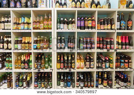 BERLIN, GERMANY - CIRCA SEPTEMBER, 2019: various bottles of beer on display at the Kaufhaus des Westens (KaDeWe) department store in Berlin.