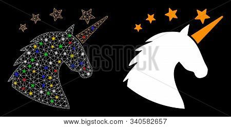 Flare Mesh Unicorn Head Icon With Lightspot Effect. Abstract Illuminated Model Of Unicorn Head. Shin