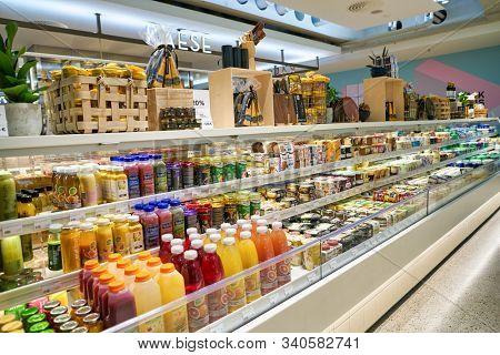 BERLIN, GERMANY - CIRCA SEPTEMBER, 2019: food and drinks on display at the Kaufhaus des Westens (KaDeWe) department store in Berlin.