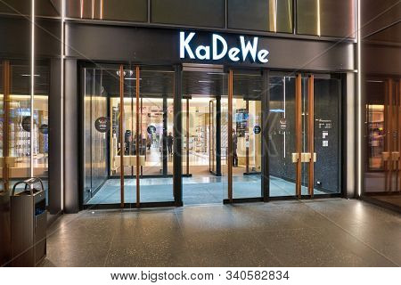 BERLIN, GERMANY - CIRCA SEPTEMBER, 2019: KaDeWe sign over entrance to the Kaufhaus des Westens department store in Berlin.