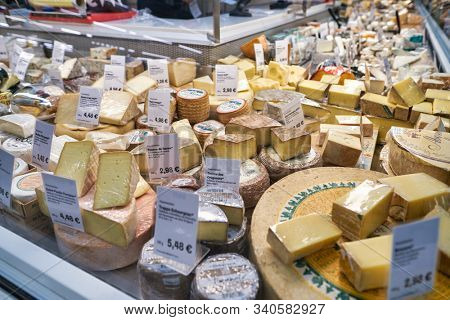 BERLIN, GERMANY - CIRCA SEPTEMBER, 2019: cheese on display at the Kaufhaus des Westens (KaDeWe) department store in Berlin.
