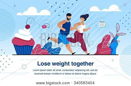 Weight Lose And Family Healthy And Active Lifestyle Trendy Flat Vector Banner, Poster Template With