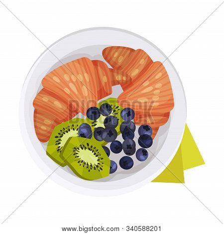 Crunchy Croissants With Berries And Kiwi Fruit Served On Plate Vector Illustration