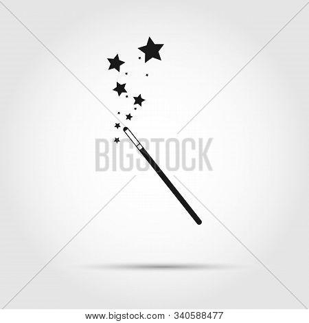 Icon Of A Magic Wand. The Magician's Magic Wand. Flat Style.