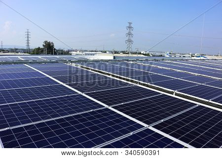 Solar Pv Rooftop System Hv Electric Pole Background