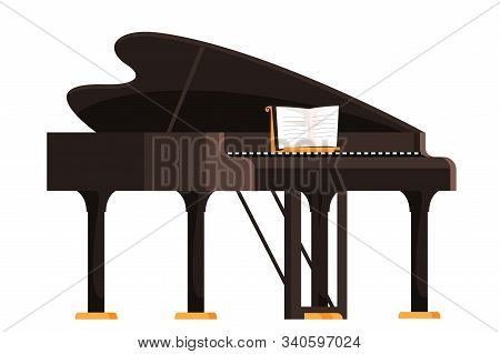 Brown Grand Piano Flat Vector Illustration. Keyboard Musician Instrument With Musical Notebook Isola