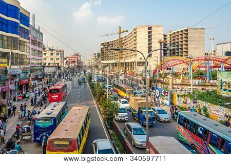 Dhaka,bangladesh - November 5,2019 - In The Streets Of Dhaka. Dhaka Is The Capital And Largest City