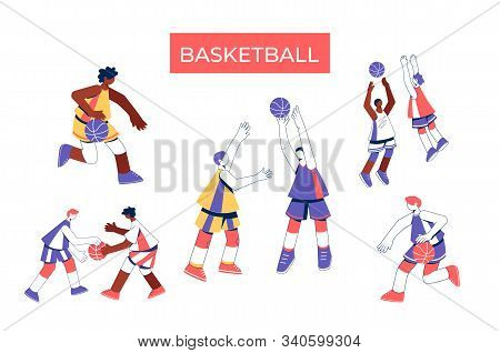Men Playing Basketball Collection. Girls Train To Dribble, Throw And Block Shot.