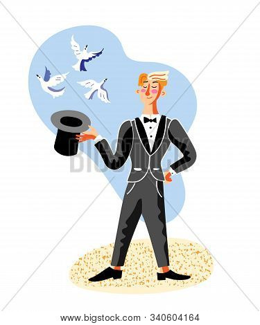 Cartoon Male Illusionist Showman Character In Black Tailcoat Making Tricks With Hat And Pigeons Stan