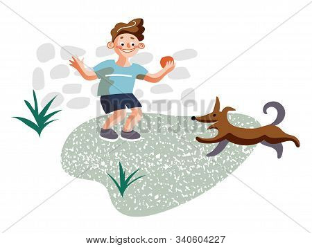 Little Boy Playing With Dog Flat Illustration. Male Child And Puppy Walking Outside Cartoon Characte
