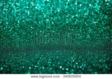 Abstract Biscay Turquoise Green Aquamarine Defocused Bokeh Glitter Sparkle Confetti Burst Background