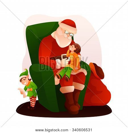 Santa Claus Sitting On Armchair Flat Illustration. Girl Telling Verse, Elf And Santa Cartoon Charact