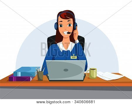 Woman Talking On Headphones Flat Illustration. Booking Office, Call Centre. Female Booking-clerk, Op