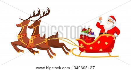Santa Claus Riding Sleigh Flat Vector Illustration. Happy Xmas Mascot Waving Hand Cartoon Character.