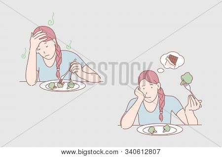 Meal Dissatisfaction, Diet, Healthy Food, Chocolate Bar Dream Concept. Melancholy, Dislike Broccoli,