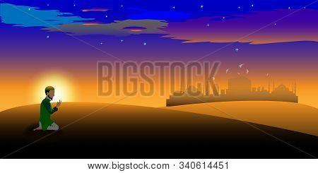 Vector Night Or Twilight Scene Of Arabian Desert. Vector Of Mosque, Dust, Sand, Desert,  A Prayer Pr