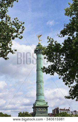 Colonne De Juillet At Place De La Bastille With Gilded Statue (genie De La Liberte) On Top. Paris, F