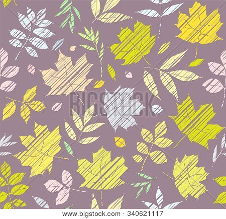 The Leaves Of The Trees, Seamless Background, Grey, Color, Shading, Vector. Yellow, Green And Grey L