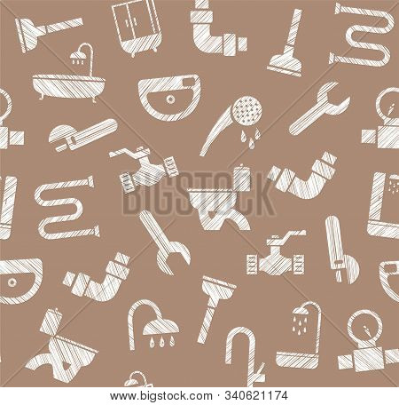 Plumbing And Plumbing, Seamless Pattern, Pencil Hatching, Brown, Vector. Plumbing Tools And Spare Pa