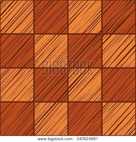 Square Tile, Background, Seamless, Stone, Vector. Squares Shaded In Diagonal Orange And Red-brown Co