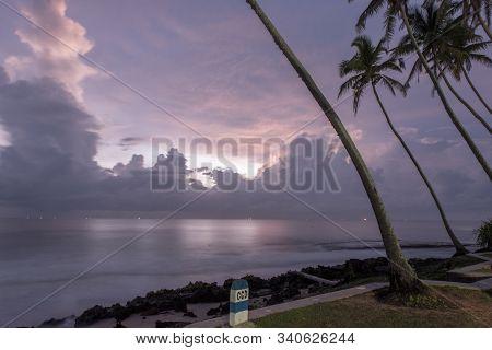 Koggala, Sri Lanka : 2019 Nov 18 :silhouettes Of The Traditional Sri Lankan Stilt Fishermen On A Sto